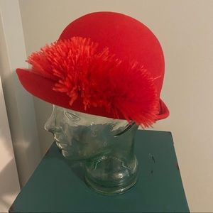 Vintage red Bellini hat with feathers